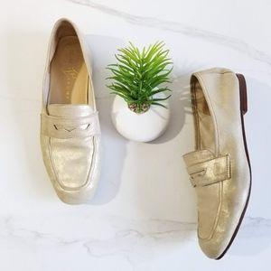 Ivanka Trump Sasha Penny Loafers Gold Leather